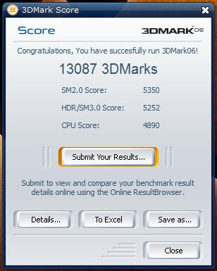 Výsledek přetaktování v 3Dmarku 06.